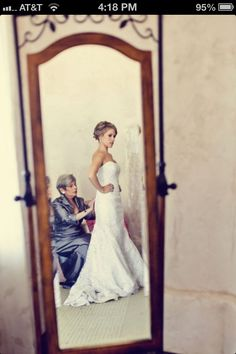 Mother and daughter picture- love the old mirror and not a wedding day, just me doing Lizzys hair.. Maybe Abby at our feet