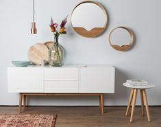 Zuiver High on Wood 2 Drawer & 2 Door Sideboard in White & Oak - Pinpon Mdf Cabinets, Open Cabinets, White Sideboard, Cabinet Dimensions, Round Wall Mirror, Living Room Inspiration, White Oak, Solid Oak, Interiores Design