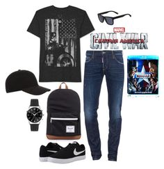 """""""Untitled #220"""" by regiblueeyess on Polyvore featuring Dsquared2, JEM, NIKE, Herschel Supply Co., Lacoste, Christy, men's fashion, menswear, contestentry and CaptainAmericaCivilWar"""