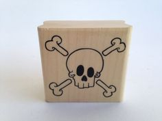 Skull and Cross Bones - Cartoon - Vintage Rubber Stamp - Card Making - Crafts  161026A by SirStampinton