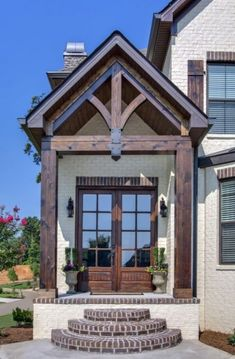 Exterior house colors with brick french country floor plans 24 Ideas Brick Cottage, Cottage House Plans, Cottage Homes, Cottage Living, Living Room, House With Porch, House In The Woods, Building A Porch, Building A House