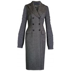 1stdibs.com | Alexander McQueen 2006 grey pinstripe and knit sleeve  coat