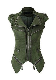 []  Lookbook Store Women's Summer Fashion Punk Green Studded Cap Sleeve Blazer US 4 []---