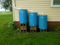 rain barrels at Grids place