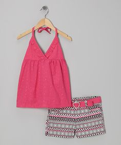 Take a look at this Fuchsia Halter Top & Black Daisy Shorts by Penny M on #zulily today!