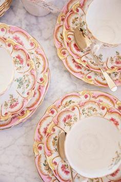 Beautiful Pink & Gold Tea Set