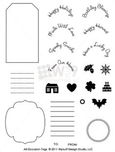 All Occasion Tags - Wplus9 Design Studio Photopolymer Clear Stamps