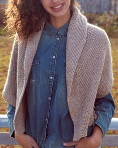 Free Knitting Pattern for Envelope Cardigan - Easy sweater pattern features the Irish Moss Stitch and shawl collar. Knit in two pieces with the only shaping in the collar. From Patons Yarn. Sizes from XS to 5XL