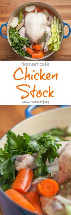 A One Pot recipe for Chicken Stock that's a great alternative to the store bought varieties | from teabiscuit.org