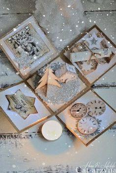 Cat-arzyna: First Christmas Craft Ideas. Christmas Origami, Diy Christmas Cards, Xmas Cards, Christmas Projects, Diy Cards, Handmade Christmas, Box Noel, Boite Explosive, Explosion Box Tutorial