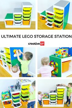 Ultimate LEGO Compatible Storage Station Fed up of stepping on LEGOs? Transform an IKEA TROFAST Unit into an Ultimate LEGO Storage Station! Kids will love having multiple building surfaces and you'll love getting the LEGOs off the floor. With vertical and Playroom Storage, Lego Storage, Ikea Storage, Bedroom Storage, Storage Ideas, Lego Table With Storage, Legos, Trofast Ikea, Diy Lego