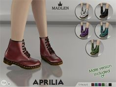 madlensims: Madlen Aprilia Boots (SET)Another gorgeous boots for your sim. These come in 6 colors (leather texture). Mesh is completely new, made by myself and low poly. Joints are perfectly assigned. All LODs are replaced with new ones. This set contains male and female version.You cannot change the mesh, but feel free to recolor it as long as you add original link in the description.Hope you'll like it,Enjoy!DOWNLOAD (To be published on 5th February 2015)