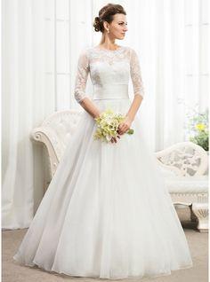 Corte A/Princesa Escote redondo Hasta el suelo Organdí Encaje Vestido de novia con Volantes Bordado Lentejuelas