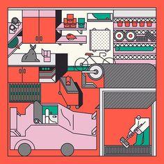 A garage . . . #art #design #illustration #graphicart #vectorart #vector #artwork #ivectors #illustrator #draw #london #graphics by hedgerart