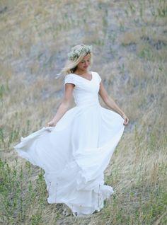 modest wedding dress flower crown chiffon LDS wedding dress