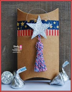 DT Shelly @ Twine It Up! with Trendy Twine made a super fun treat for the 4th of July. She used the  Stars and Stripes Trendy Twine & a Large Kraft Pillow Box.