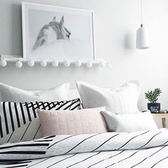 white bedroom + striped sheets