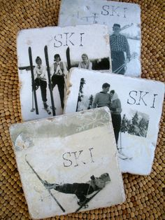 """Oh, so exciting! My original ski photos from my personal collection are now on these wonderful travertine tiles. Ready for you to use with your hot/cold drinks throughout the ski season! Natural tiles already so rustic and with so much character left me with loads of design freedom. Each tile uniquely its own. Coaster measures 4"""" x 4"""". Has a protective sealer for hot and cold. Has a solid cork backing for protection. Listing is for a set of 4 coasters. Simply wipe with damp cloth t..."""