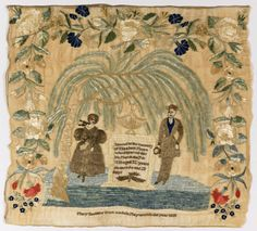 Mourning Sampler, 1838. Medium: silk and human hair embroidery on linen foundation Technique: embroidered on plain weave foundation.