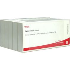 LYCOPODIUM COMP.Ampullen:   Packungsinhalt: 50X1 ml Ampullen PZN: 02086129 Hersteller: WALA Heilmittel GmbH Preis: 41,24 EUR inkl. 19 %…