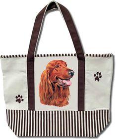 Tote Bag - Irish Setter - Heavy Duty Canvas - Shopping Grocery - Dog