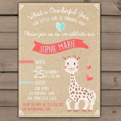 First Birthday invitations Sophie the Giraffe by Anietillustration