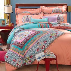 bohemia/boho red bedding set queen king sanded cotton winter bedclothes bed sets duvet/quilt cover bed linen sheet - On Trends Avenue Red Bedding Sets, Cheap Bedding Sets, Bedding Sets Online, Queen Bedding Sets, Luxury Bedding Sets, Comforter Sets, Affordable Bedding, Modern Bedding, Bed Duvet Covers