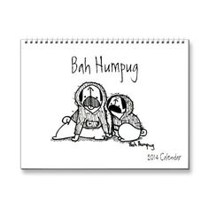 An absolutely adorable, cute & funny calendar, featuring adorable sketches of two pugs, Sunny and Rosy.