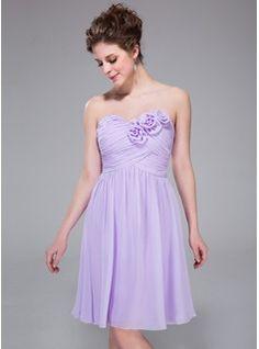 A-Line/Princess Sweetheart Knee-Length Chiffon Bridesmaid Dress With Ruffle Flower(s) (007037325) - JenJenHouse