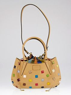 Fendi Milk Calfskin Leather Multicolor Studded Small B. Fab Tote Bag