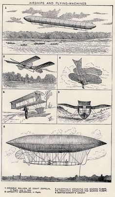 Airships and Flying-Machines | Antique lithograph printed in New York in1910 #airship #aeronef #aerodyne