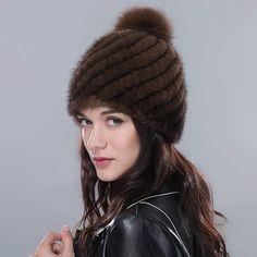 URSFUR Women Authentic Mink Fur Knit Beanie Hat Fur Cap Pom Warm Winter  Headgear Fur 7deaaf584088