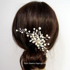 Wedding Hair Accessories Ivory Champagne Pearls by adriajewelry