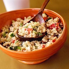 Cooking Light:Cooking with Quinoa: 20 Recipes  High in protein and fiber, quinoa is not only versatile, it also tastes wonderful and has a nice crunch. Find 20 delicious recipes for cooking with this ancient whole grain.    •  Black Bean-Quinoa Salad with Basil-Lemon Dressing  •  Quinoa Tabbouleh  •  Curried Quinoa Salad  •  How to Cook Perfect Quinoa  MORE QUINOA RECIPES
