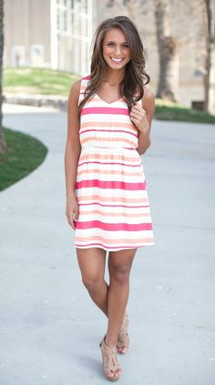 The Pink Lily Boutique - Social Butterfly Striped Dress, $39.00 (http://thepinklilyboutique.com/social-butterfly-striped-dress/)