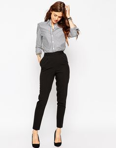 ASOS Trousers in High Waist with Straight Leg 10 $40