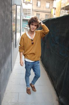 My friend has shoes like these: suede tan flats. It's a kind of cool, intellectual look, but not stuffy or camp. The jeans are really nice too, and I don't need to say anything about the sweater!
