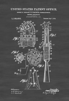 Rocket Patent Space Art Space Poster Space by PatentsAsPrints
