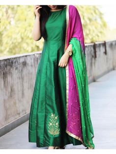 Poly Silk Plain Green Semi Stitched Long Anarkali Suit