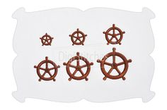 Ships Wheel Minis ~ Ship's Wheel Minis feature embroidery satin stitches. Perfect for napkins, button covers, infant bodysuits, doll shirts, merged designs and vowel substitutions in names.