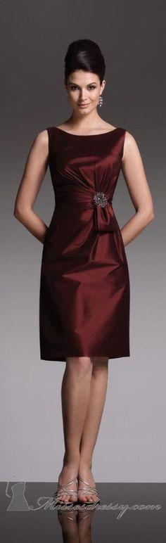 burgundy dress @roressclothes closet ideas women fashion outfit clothing style Mon Cheri couture ~ <3: