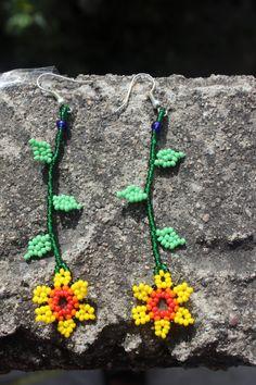 Items similar to Huichol Beaded Earrings on Etsy Brick Stitch Earrings, Seed Bead Earrings, Beaded Earrings, Seed Beads, Seed Bead Patterns, Beaded Jewelry Patterns, Beading Patterns, Bead Sewing, Peyote Beading