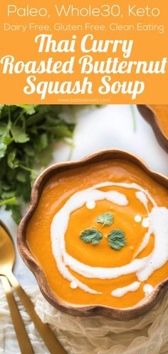 Paleo + Thai Curry Roasted Butternut Squash Soup Ricetta – arrosto ma … Paleo + Thai Curry Roasted Butternut Squash Soup Recipe – roasted butternut squash soup with apple, thai curry paste and coconut milk. This delicious fall soup is one Thai Butternut Squash Soup, Roasted Butternut Squash Soup, Recipe For Butternut Soup, Butternut Squash Apple Recipe, Milk Soup Recipe, Butternut Squash Soup Healthy, Squash Recipe, Coconut Milk Soup, Recipes