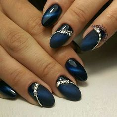 Cobalt Blue Nails With Rhinestones;blue manicure;blue nail d.- Cobalt Blue Nails With Rhinestones;blue manicure;blue nail designs;Blue Gel;Nail Polish;blue nail art;rhinestone nails; - Cobalt Blue Nails, Blue Gel Nails, Nail Art Blue, Acrylic Nails, Dark Blue Nails, Bleu Cobalt, Coffin Nails, Nail Art Rhinestones, Rhinestone Nails
