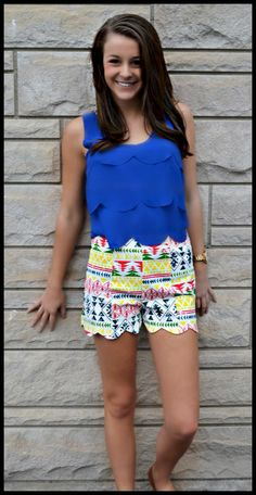 """""""Cloud Nine"""" Scalloped Tank, $30.99 w/ Free Shipping! """"Above The Treetops"""" Tribal Shorts, $33.99 w/ Free Shipping!  http://www.shopadorabelles.com/collections/tops/products/cloud-nine-scallop-tank-top http://www.shopadorabelles.com/collections/pants-skirts/products/above-the-treetops-tribal-scalloped-shorts"""