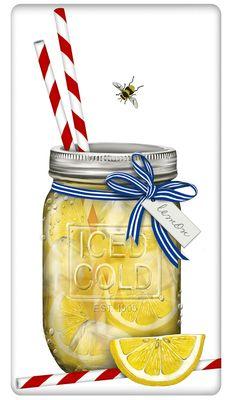 "Mason Jar Summer Lemonade 100% Cotton Flour Sack Dish Towel Tea Towel - 30"" x 30"" by Designer Mary Lake Thompson"
