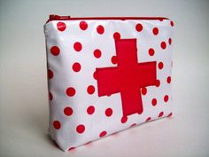 Red Cross  Medicine Pouch / First aid kit 7 x 5 x 2  by tomatopin, $15.00 #EMS