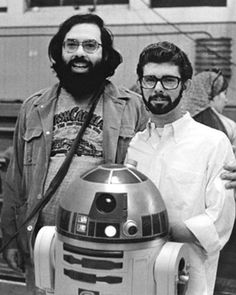Francis Ford Coppola visits George Lucas on the set of Star Wars.