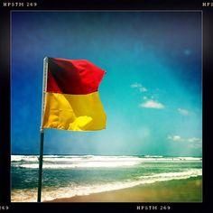 Beach flag, Main Beach, Gold Coast, Australia