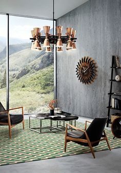 charles architectural round ceiling fixture multi light hotel lobby fifties copper chandelier, www.delightfull.eu